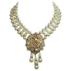 Vintage Signed Vogue Faux Pearls & Crystals Drop Necklace