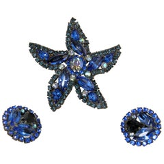 Vintage Signed Weiss Blue Crystals Star Brooch & Earrings