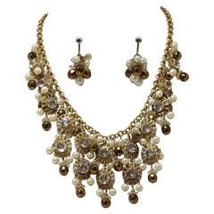 Vintage Signed Western Germany Faux Pearls & Crystal Bib Necklace & Earrings Set