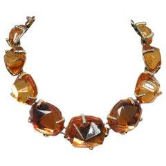 Vintage Signed Yves St. Laurent France Citrine Crystal Necklace