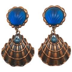 Vintage Signed Yves St. Laurent Shell Dangling Earrings