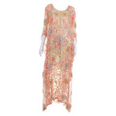 Vintage Silk Beaded Caftan Full Length Dress Sequins & Gold Metallic Embroidery