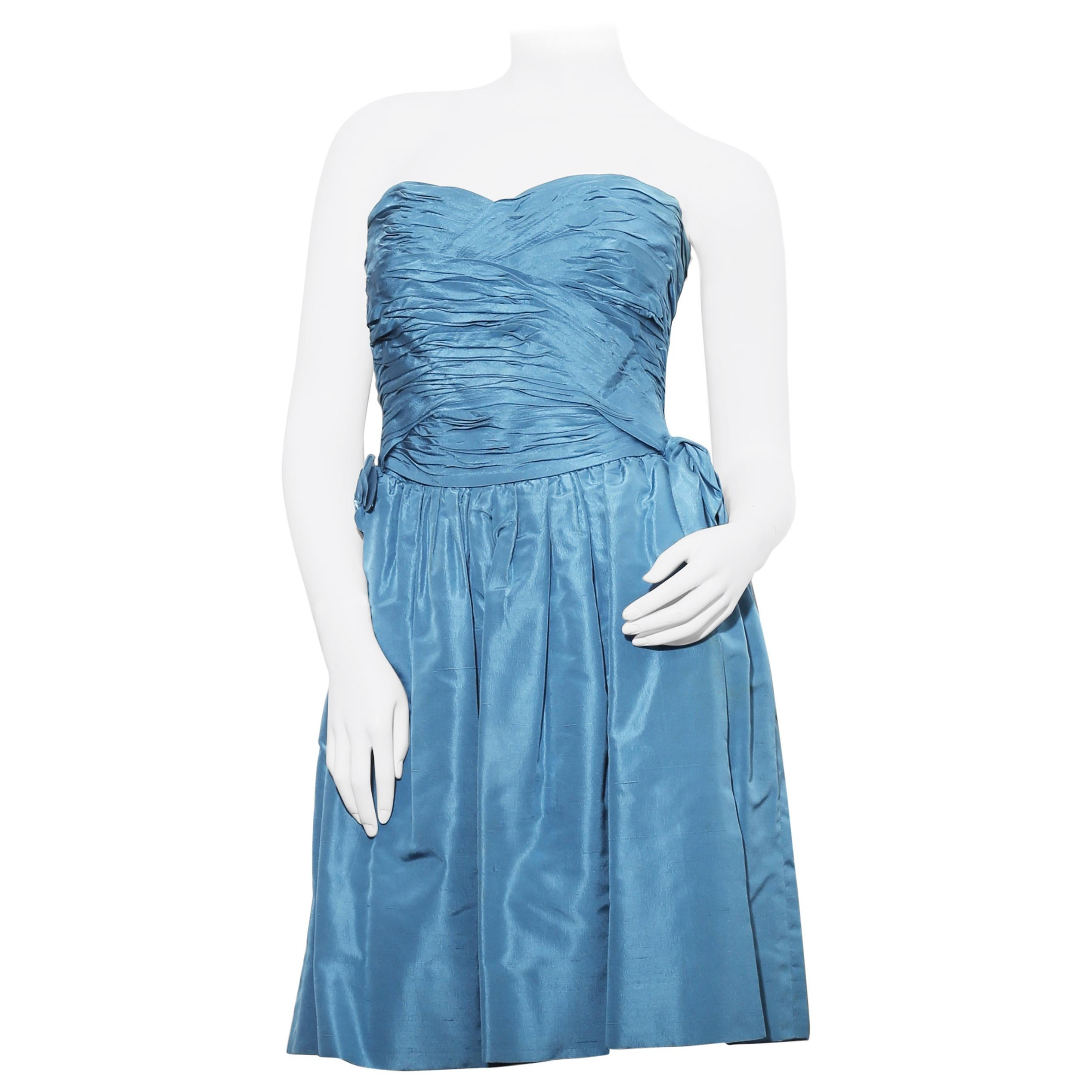 Vintage Silk Blue Jean Chanel dress with jacket