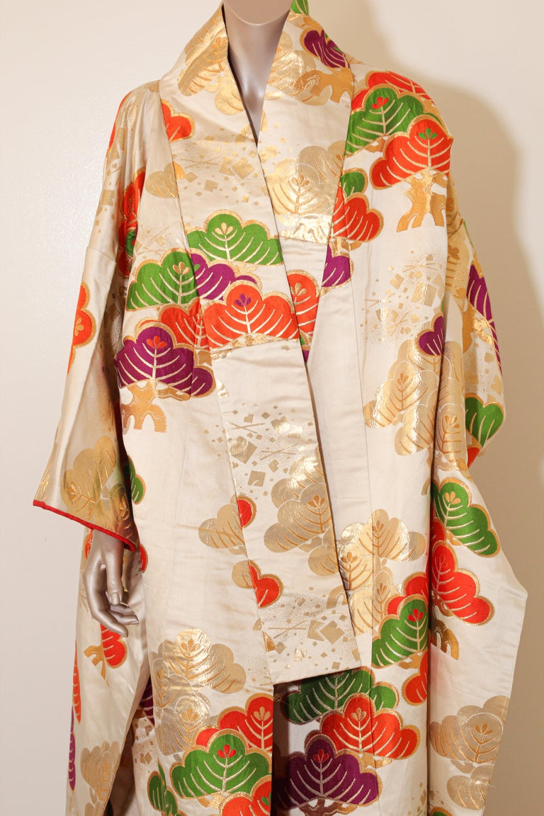 Vintage Silk Brocade Japanese Ceremonial Kimono For Sale 5
