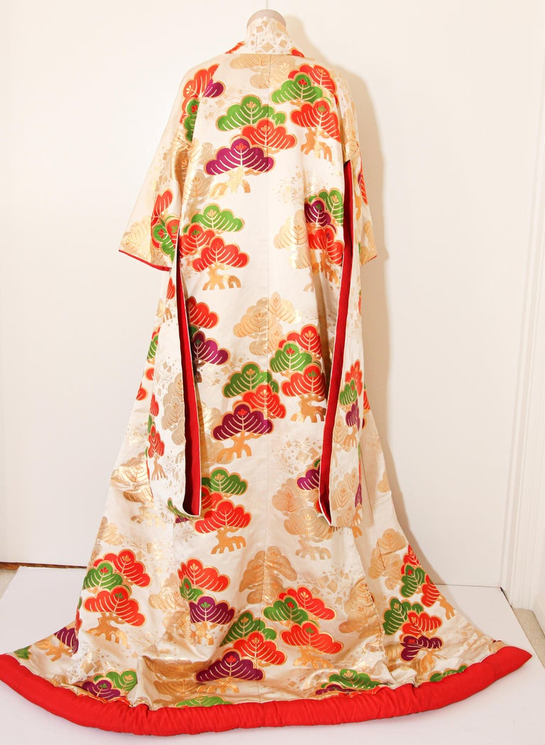 Vintage Silk Brocade Japanese Ceremonial Kimono For Sale 6