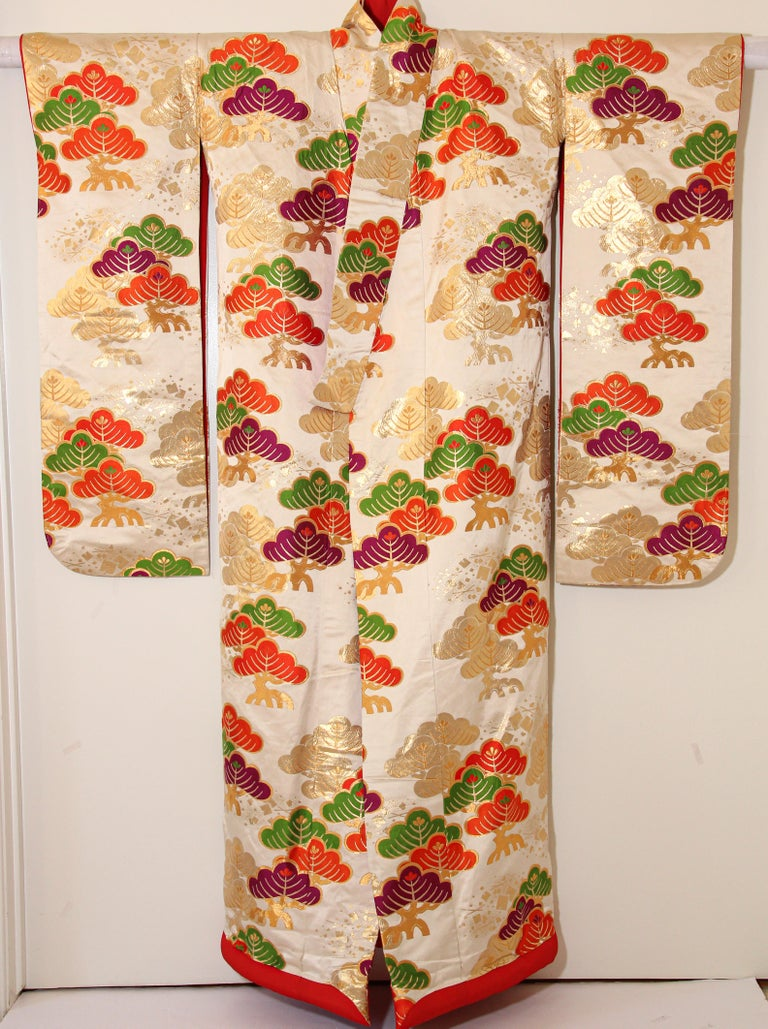 Vintage Silk Brocade Japanese Ceremonial Kimono For Sale 8
