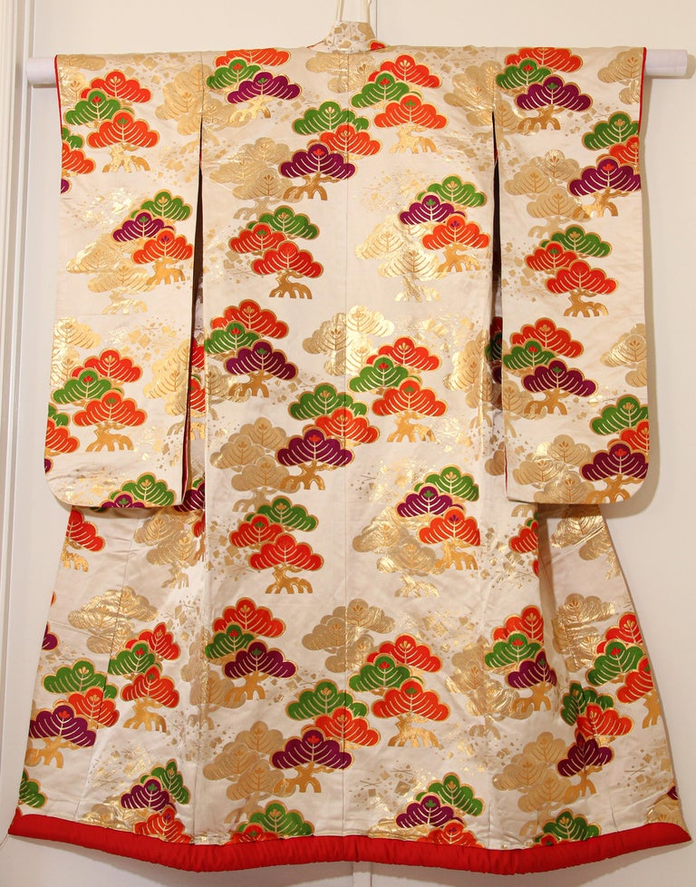 Vintage Silk Brocade Japanese Ceremonial Kimono For Sale 9