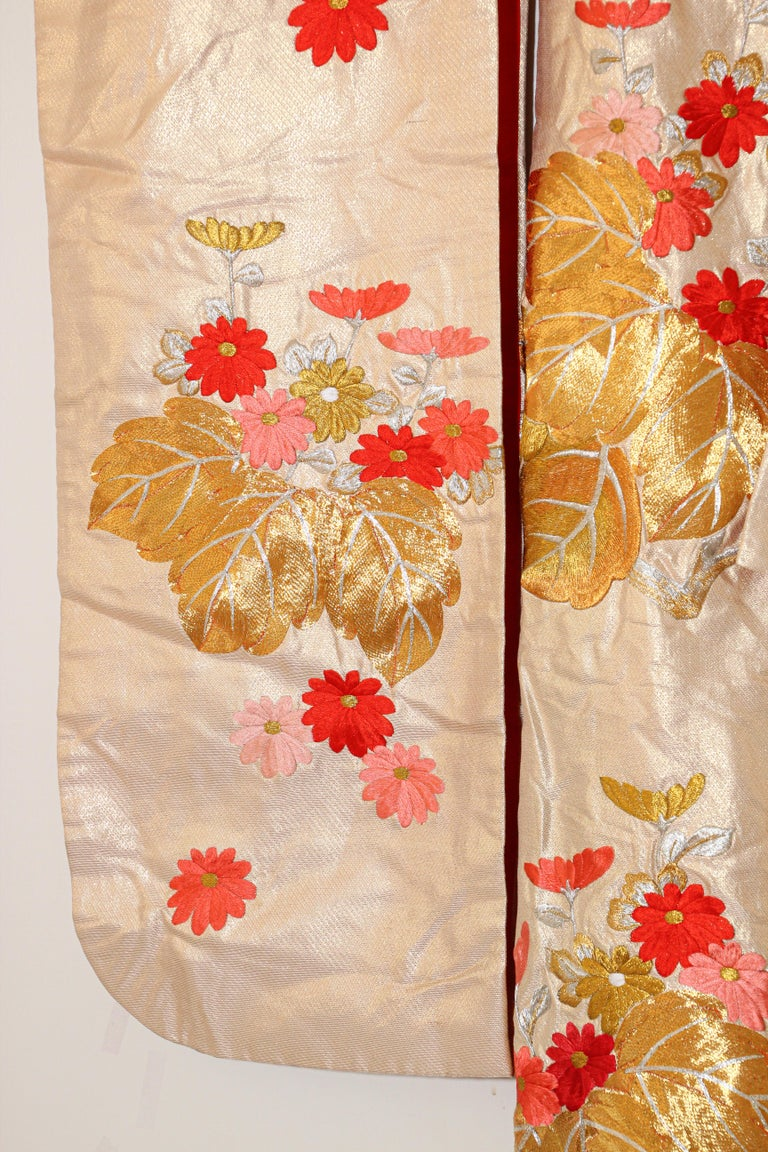 Vintage Silk Brocade Japanese Ceremonial Kimono For Sale 12