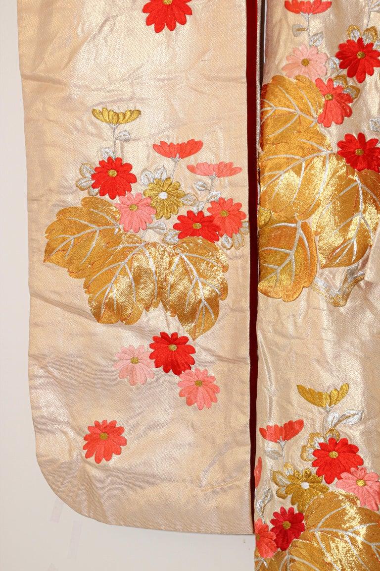 Vintage Silk Brocade Japanese Ceremonial Wedding Kimono For Sale 6