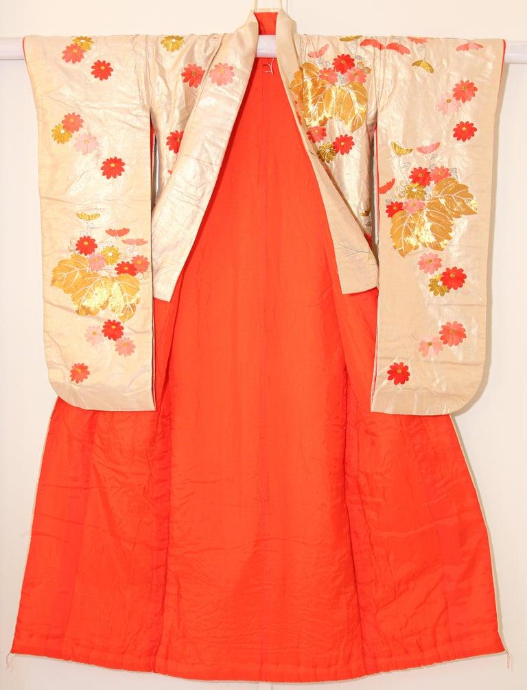 Vintage Silk Brocade Japanese Ceremonial Wedding Kimono For Sale 7