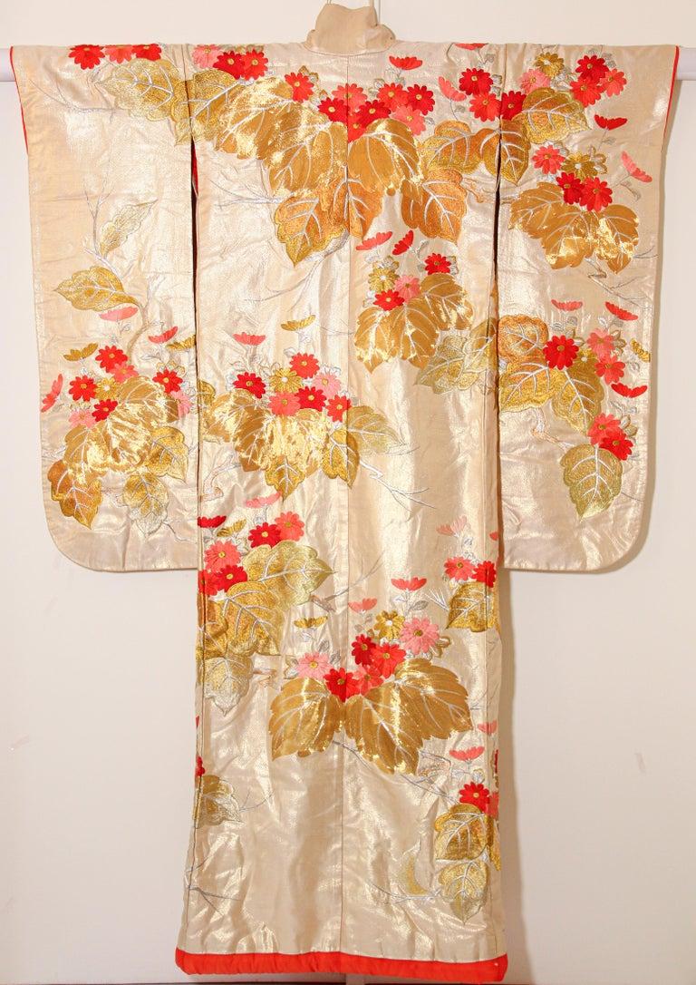 Vintage Silk Brocade Japanese Ceremonial Wedding Kimono For Sale 8