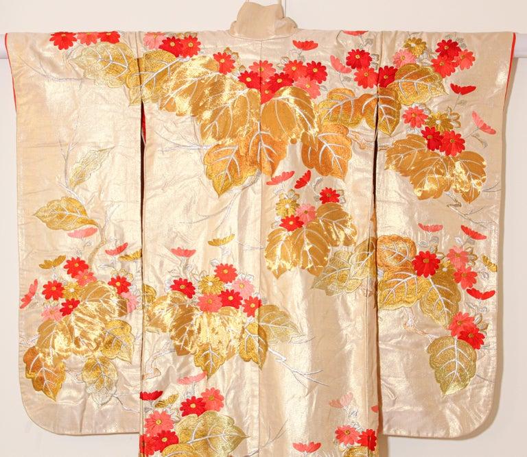 Vintage Silk Brocade Japanese Ceremonial Wedding Kimono For Sale 9