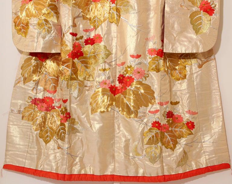 Vintage Silk Brocade Japanese Ceremonial Wedding Kimono For Sale 10