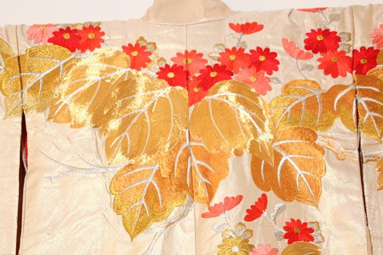 Vintage Silk Brocade Japanese Ceremonial Wedding Kimono For Sale 12