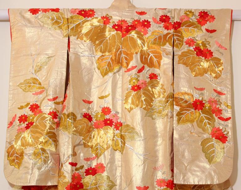 Vintage Silk Brocade Japanese Ceremonial Wedding Kimono For Sale 14
