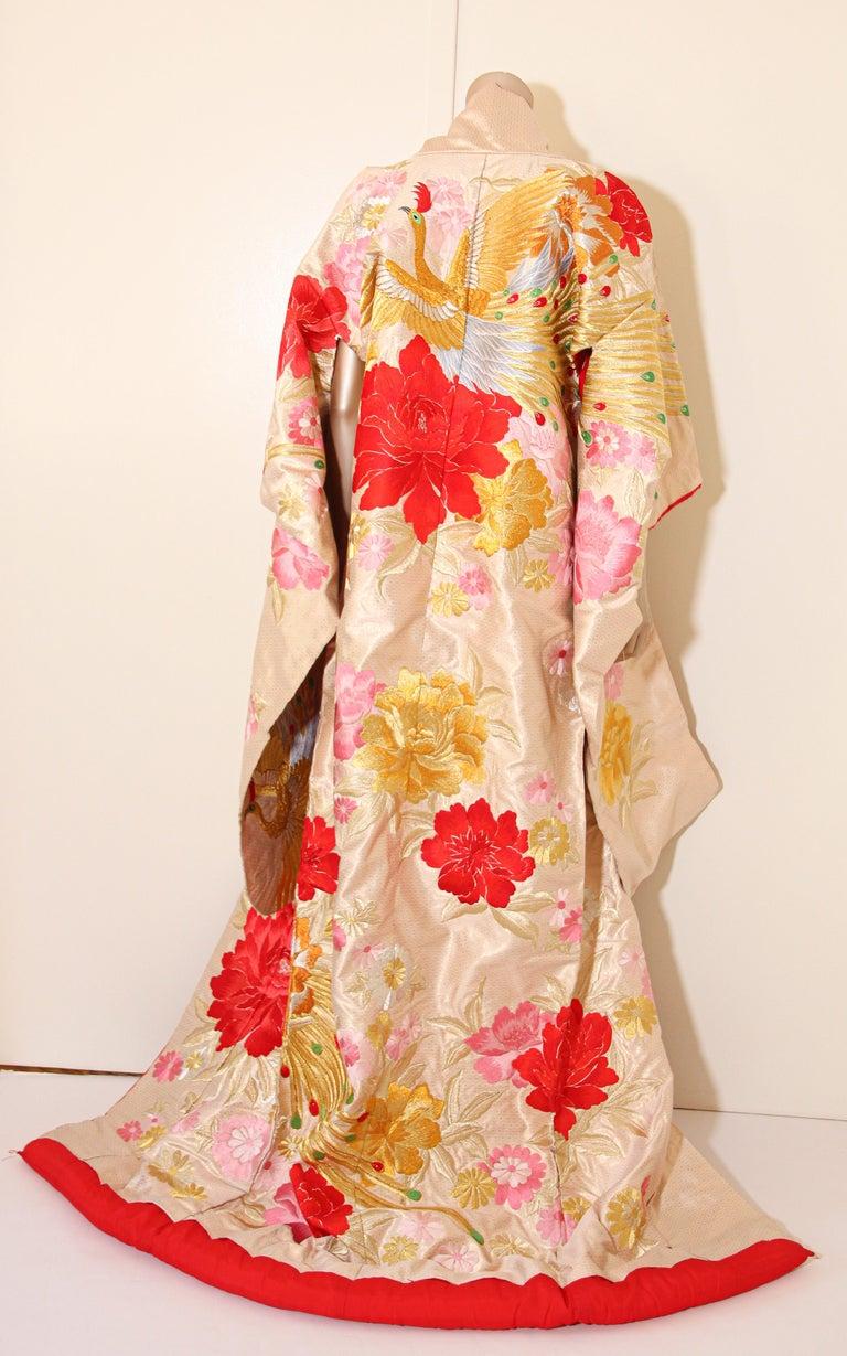 Vintage Silk Brocade Japanese Ceremonial Wedding Kimono For Sale 1