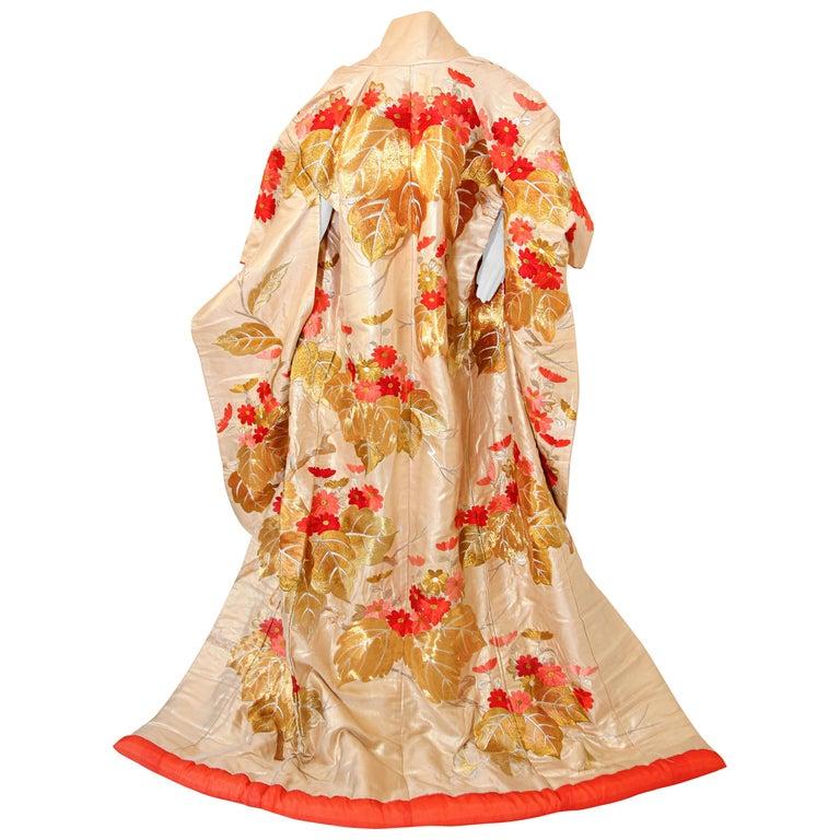 Vintage Silk Brocade Japanese Ceremonial Wedding Kimono For Sale
