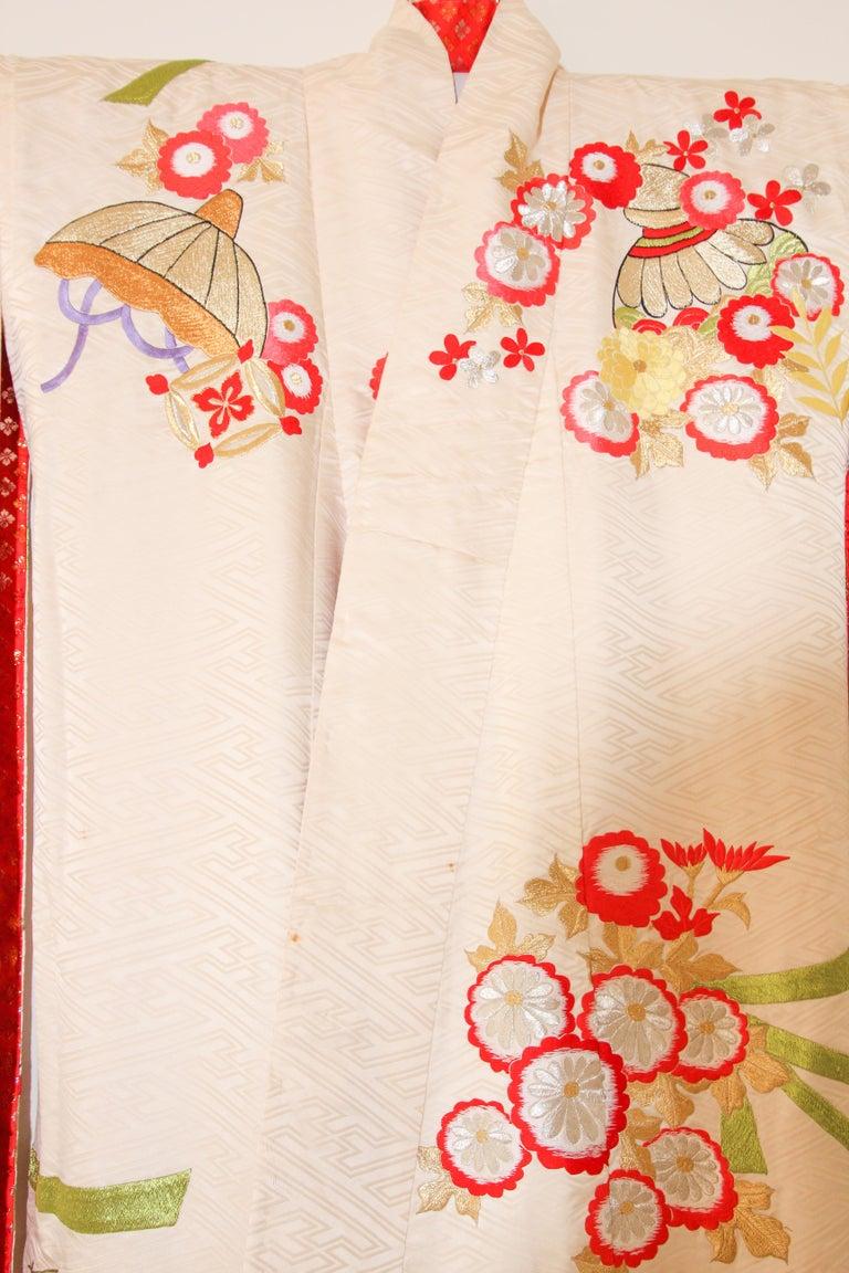 Vintage Silk Brocade Japanese Wedding Kimono For Sale 12