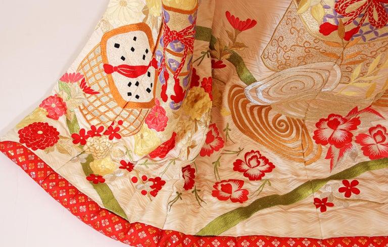 Japonisme Vintage Silk Brocade Japanese Wedding Kimono For Sale