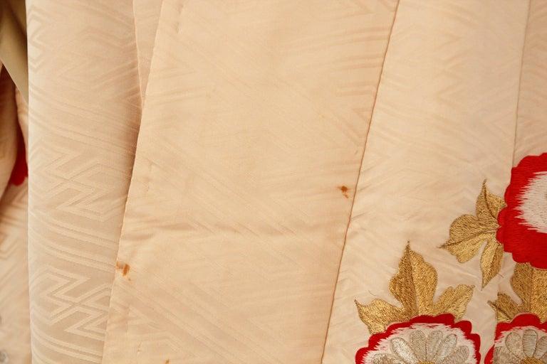 Vintage Silk Brocade Japanese Wedding Kimono For Sale 1