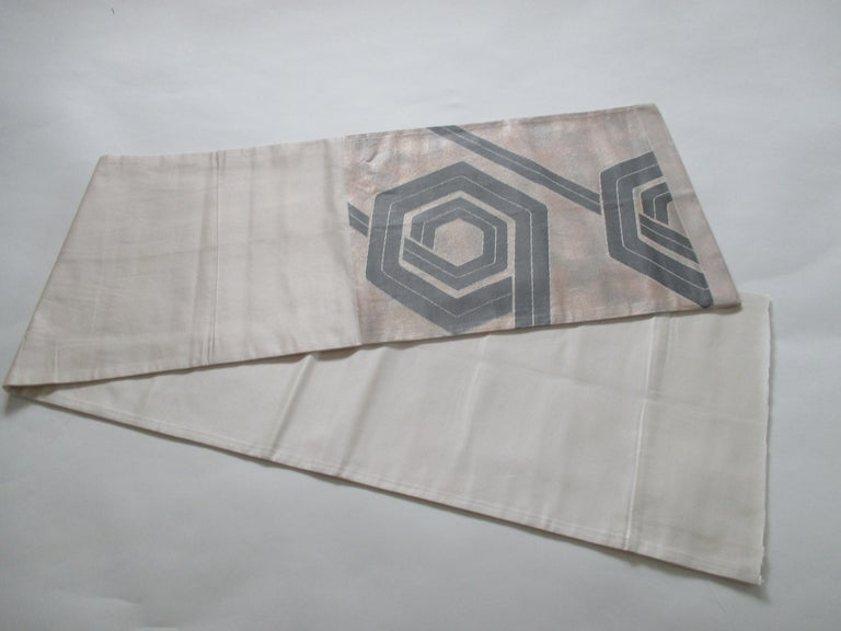 Japonisme Vintage Silk Champagne and Grey Obi Textile with Deco Pattern For Sale