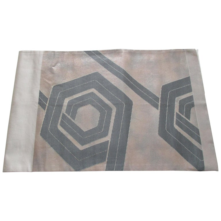 Vintage Silk Champagne and Grey Obi Textile with Deco Pattern For Sale