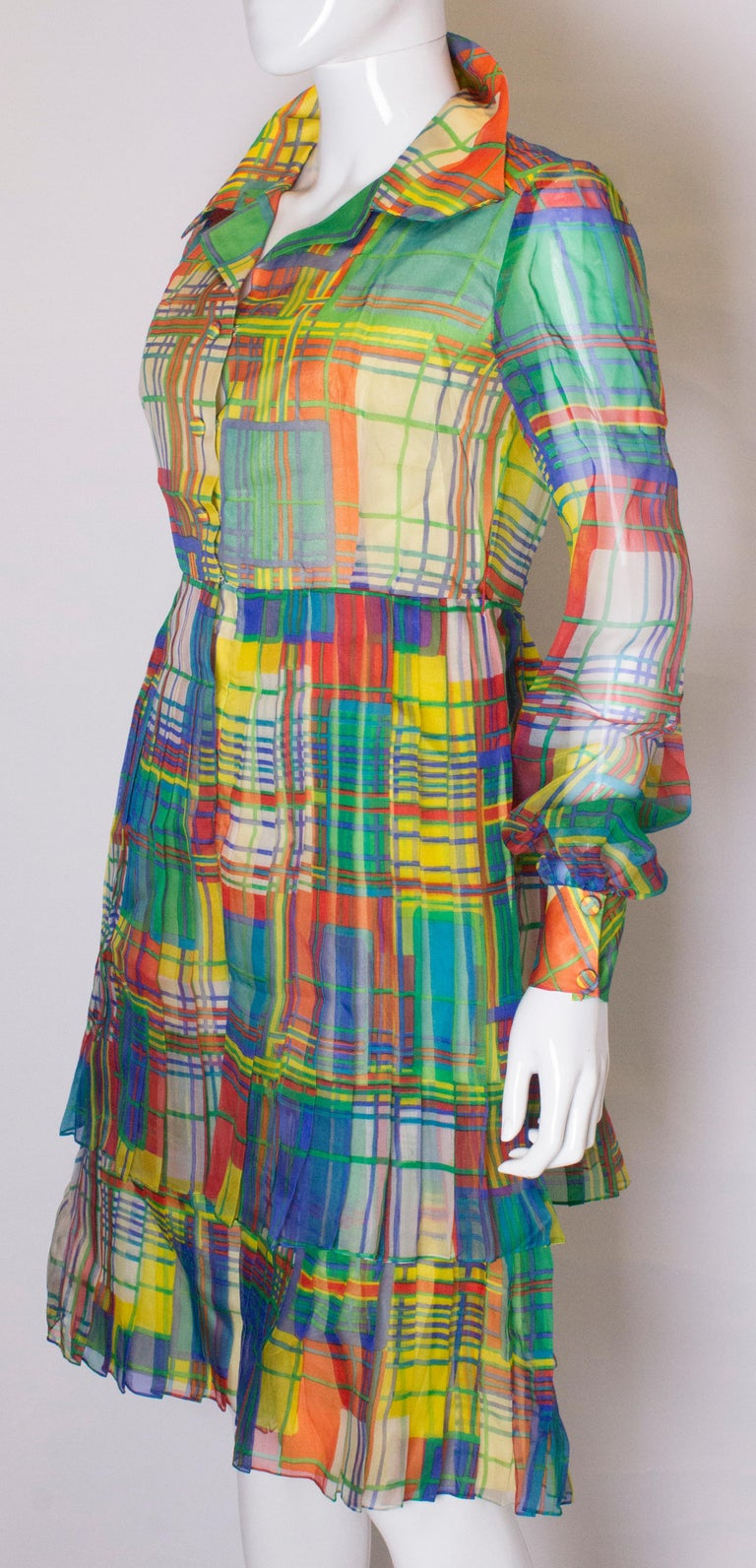 Vintage Silk Chiffon Dress by Nettie Vogue London In Good Condition For Sale In London, GB