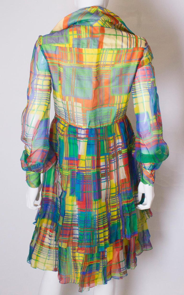 Vintage Silk Chiffon Dress by Nettie Vogue London For Sale 3