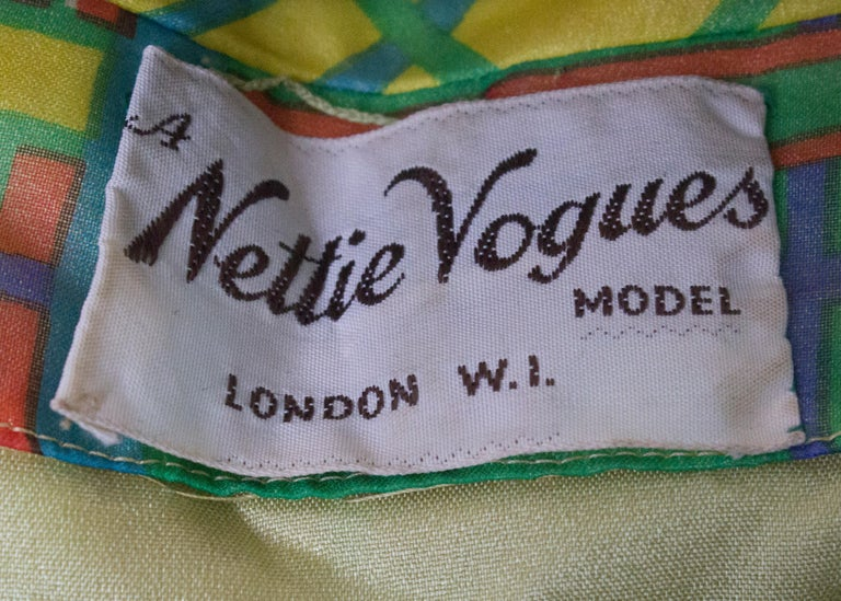 Vintage Silk Chiffon Dress by Nettie Vogue London For Sale 4