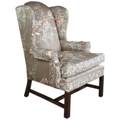 Vintage Silk Chippendale Style Wingback Armchair Club Library Accent Bird Motif
