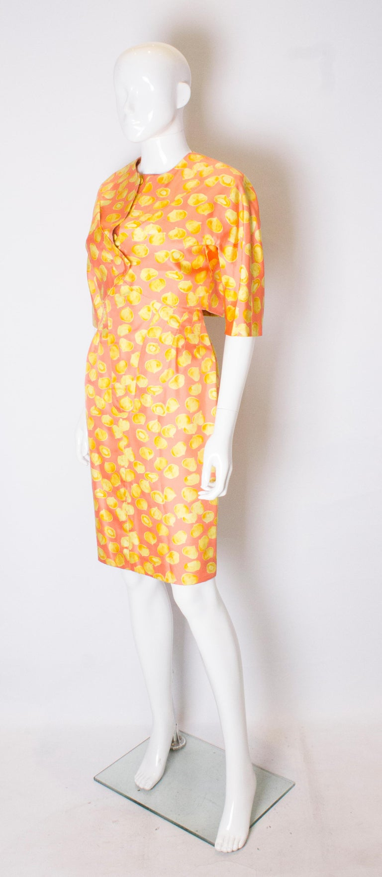 Orange Vintage Silk Cocktail Dress and Jacket For Sale