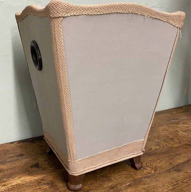 Vintage Hollywood glam silk moire covered wastebasket or trash can.