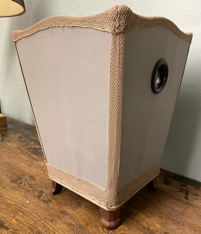 Vintage Silk Covered Waste Basket In Good Condition For Sale In Great Barrington, MA