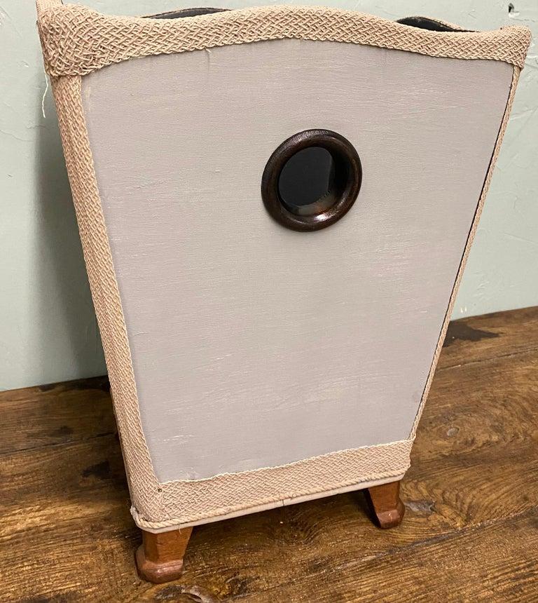 Fabric Vintage Silk Covered Waste Basket For Sale