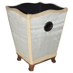 Vintage Silk Covered Waste Basket