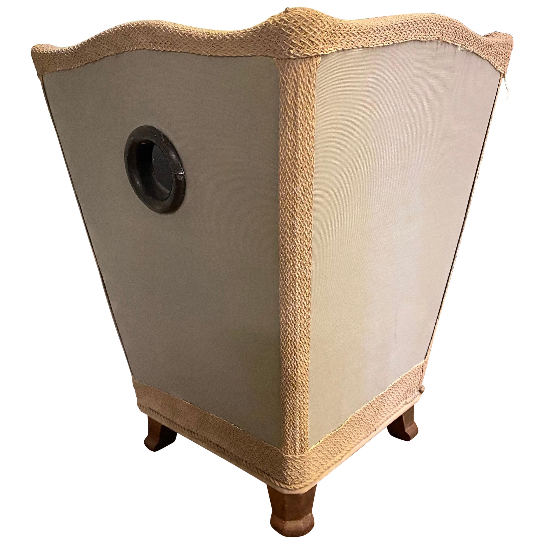 Vintage Silk Covered Waste Basket