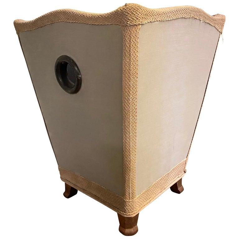 Vintage Silk Covered Waste Basket For Sale