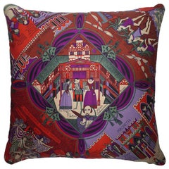 "Vintage Silk Cushion ""William Shakespeare and the Globe Theatre"" Made in London"