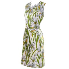 Vintage Silk Donald Brooks Dress With Spring White Iris Flowers and Green Leaves