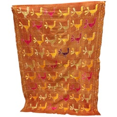 Vintage Silk Embroidered Peacocks on a Phulkari Wedding Shawl, Punjab, India