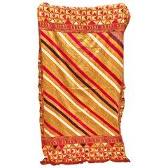 Vintage Silk Embroidered Phulkari Bagh Wedding Shawl. Punjab, India