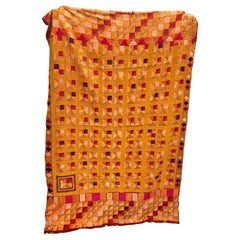 Vintage Silk Embroidered Phulkari Bagh Wedding Shawl, Punjab, India
