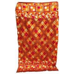Vintage Silk Embroidered Phulkari Bagh Wedding Shawl, Punjab, India