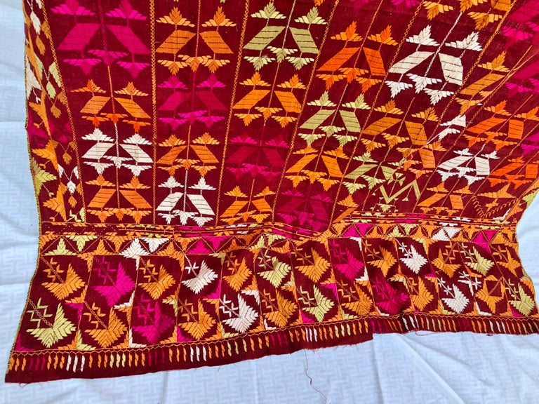 20th Century Vintage Silk Embroidered Phulkari Wedding Shawl from Punjab, India For Sale