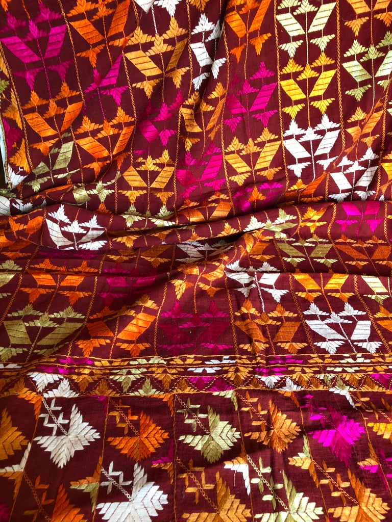 Cotton Vintage Silk Embroidered Phulkari Wedding Shawl from Punjab, India For Sale