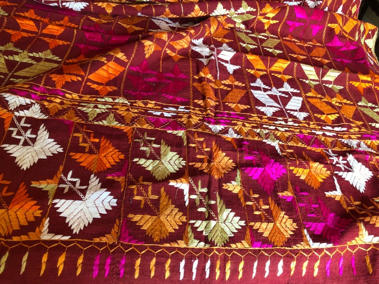 Vintage Silk Embroidered Phulkari Wedding Shawl from Punjab, India For Sale 1