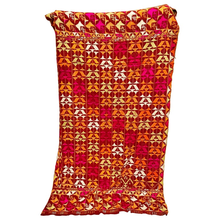 Vintage Silk Embroidered Phulkari Wedding Shawl from Punjab, India For Sale