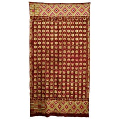 Vintage Silk Embroidered Phulkari Wedding Shawl from Punjab, India