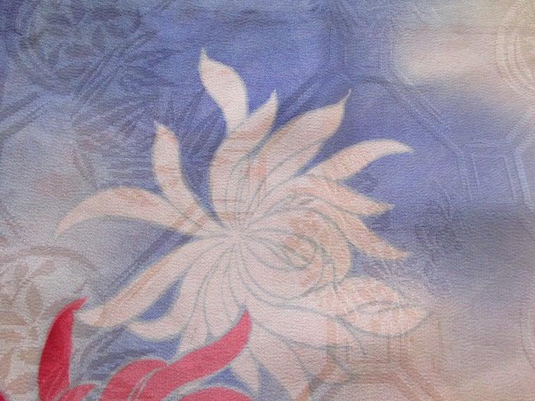 Japonisme Vintage Silk Floral Kimono Sleeves Double-Sided Textile For Sale