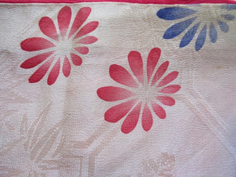 Japanese Vintage Silk Floral Kimono Sleeves Double-Sided Textile For Sale